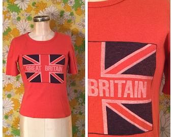 SALE! 70s 80s Vintage Great Britain Cropped T-Shirt Medium Large