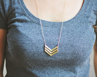 Geometric Triple Arrow Necklace | Brass | 14k Gold Filled | Sterling Silver