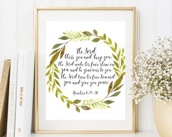 The Lord Bless You and Keep You Numbers 6:24-26 Bible verse digital art Scripture wall art print Christian Home Decor Green Wreath printable