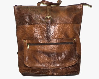 Grained Brown Leather Laptop Backpack   Work Backpack