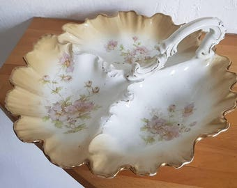 Antique Large  Porcelain Hors D'Oeuvre Tray / Platter Gilded And Hand painted Marked 1844