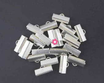 x 30 Silver Ribbon 16mm (01E) claw clasp