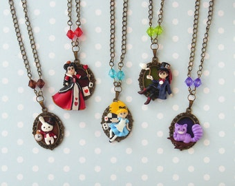 Alice in Wonderland Necklace - Alice in Wonderland Jewelry - Polymer Clay Jewelry - Alice Necklace - Queen of Hearts Necklace