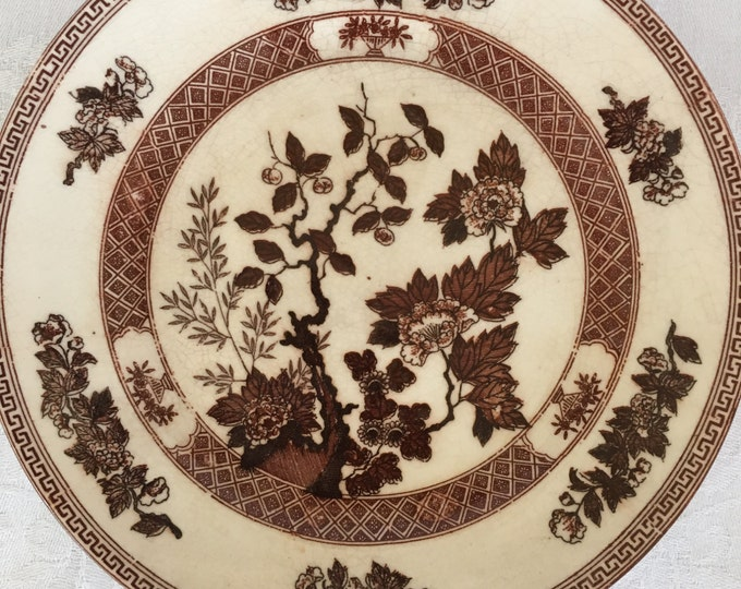 9 Piece Nasco Indian Tree Brown Transferware Soup Bowls and Dessert Plates