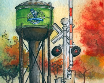 Toronto Art // Watercolor Giclee Print //Giclee Print of Original Watercolor Painting-Steam Whistle Brewing@The Roundhouse (Limited Edition)