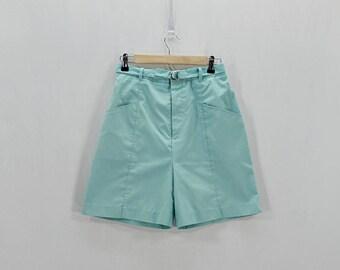 Vintage 80's mint green high waist tennis shorts // Size S / M