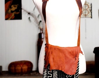 African Essence  Handmade gypsy tribal boho deer leather African mud cloth shoulder bag purse