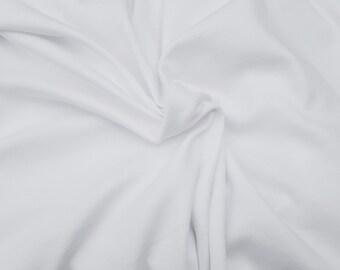 "White Cotton Interlock Knit Fabric By the Yard 61""W 1/16"