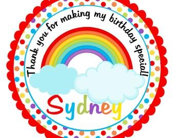 Rainbow Birthday Stickers-Rainbow Birthday Tags-Rainbow Party Favors-Set of 12