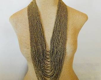 Statement necklace Tribal necklace Philippine necklace gold woven bead necklace