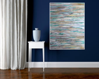 Large Abstract Wall Painting Sky Original Painting Office Decor Green and White Line Art Acrylic Art on Canvas Contemporary Art Office Decor