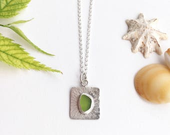 Sea glass Jewellery, Sea glass pendant, Lime, Sterling silver necklace, Beach Jewellery, Boho necklace, Mermaid necklace, Ocean jewellery