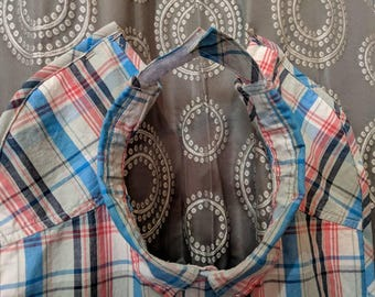 Teen plaid shirt front bib