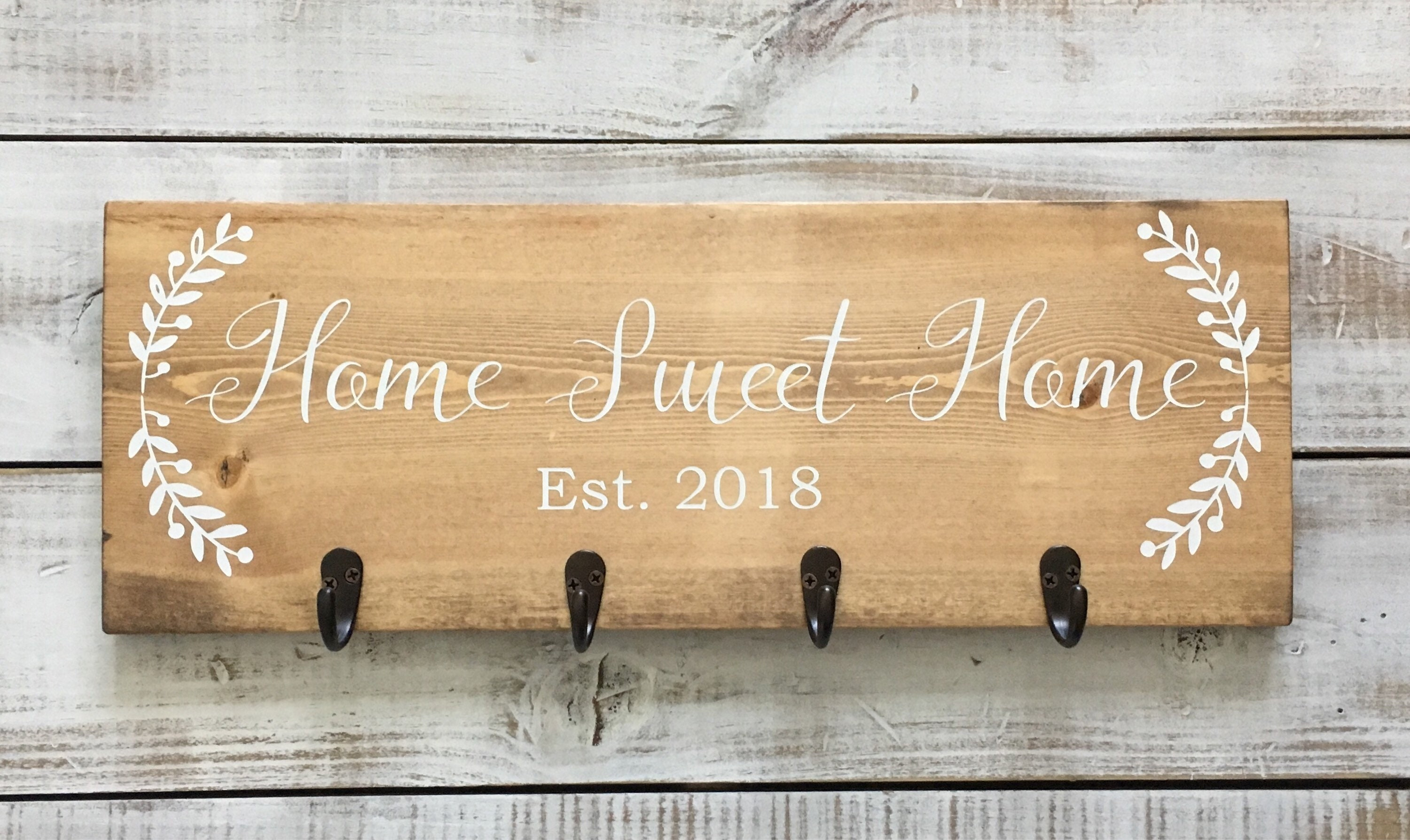 Home Sweet Home Wood Sign Key Holder For Wall Wood Key