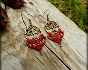 Macrame boho earrings/Tree of life earrings/Tribal macrame/Micromacrame/Elven jewelry/Ethnic/Red earrings/Thetreeoflifeart
