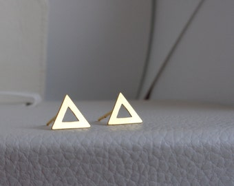 Triangle Vermeil Studs. Vermeil Dainty Earrings. Gold Triangle Earrings. 24k Gold Vermeil Studs. Trangle Stud. Minimalist Gold Vermeil Studs