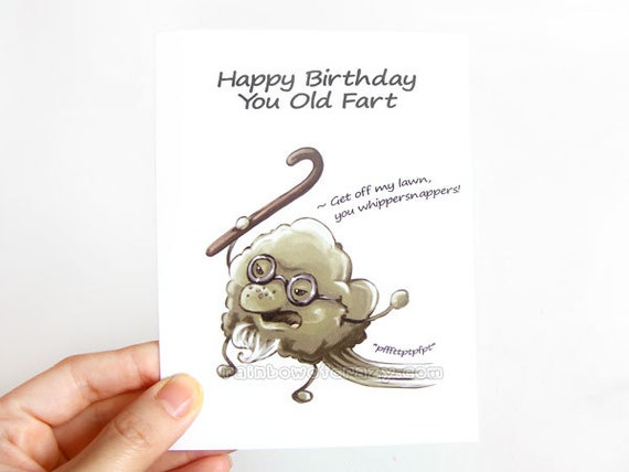 Funny birthday card old fart blank greeting card happy like this item bookmarktalkfo Image collections