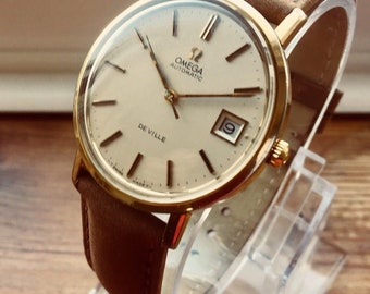 Omega 1973 Mens gents De Ville vintage Automatic Gold plated vintage watch CAL 1012 + BOX