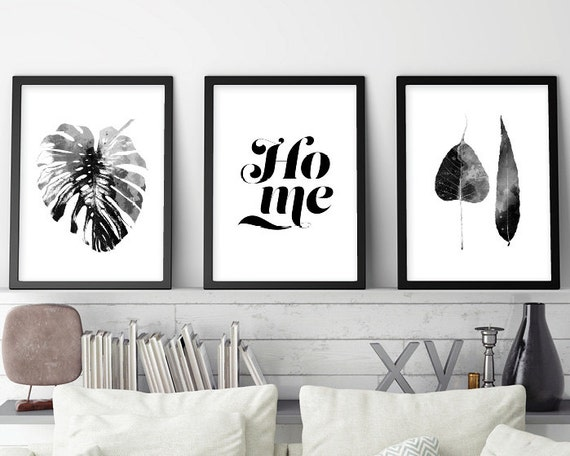 Set of 3 prints black white art scandinavian art set