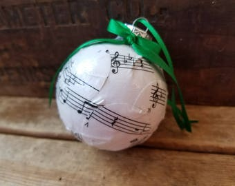 Sheet music ornament, vintage sheet music Christmas ornament, music lover's gift, music note ornament
