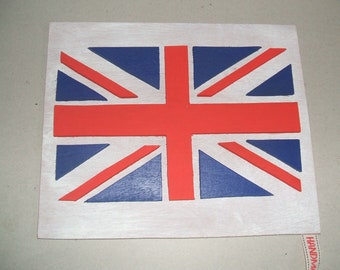 Hand cut hand painted wooden union jack picture