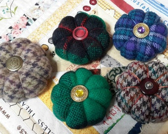 Handmade -- Miniature Pincushion -- Vintage Buttons -- Crushed Walnut Shells -- Tiny Wool Pincushion -- Vintage Felted Wool