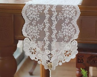 Free shipping-Wedding Tablecloth Table Topper Table Doily Runner,Embroidery&Lace 17x180cm
