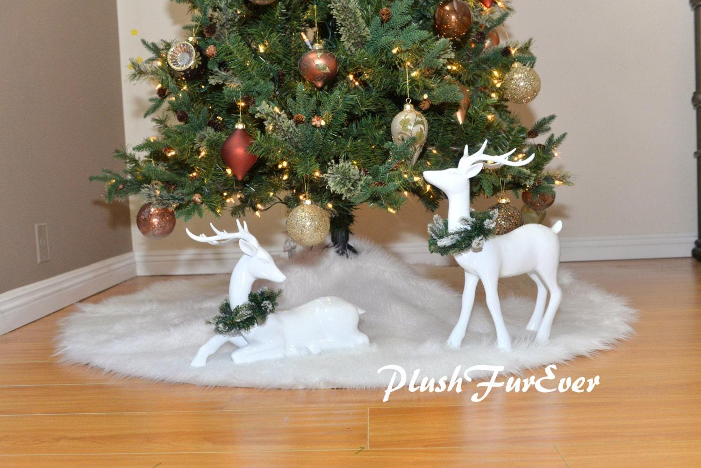 Snow White Warm White Christmas Tree Skirt White Round Holiday