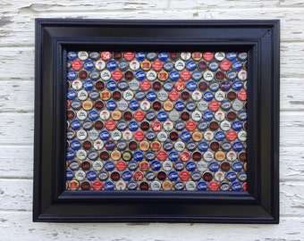 Beer Bottle Cap Magnetic Board, Magnet Board, Message Board, Note Board, Upcycled