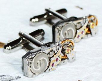 LONGINES Steampunk Cufflinks - Swiss Luxury Silver Vintage Watch Movement - MATCHING Men Steampunk Cufflinks Cuff Links Men Wedding Gift