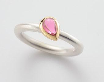 COCKTAIL - RING - tourmaline pink cabochon drops