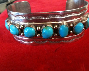 St/Silver Heavy Bracelet Open Cuff Studded  With Turquoisis, 56.1gms