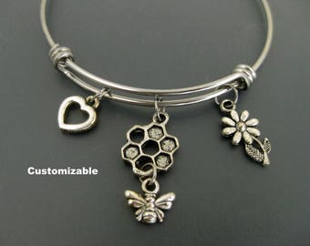 Bee Bangle / Bee Bracelet / Honeycomb Bangle / Adjustable Charm Bracelet / Customizable Bracelet / Honey Bee Gift / Honey Bee Bracelet