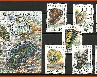 Shells and molusses, postage stamps from Tanzania