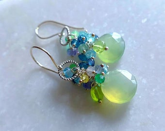 Prehnite Chalcedony  Tanzanite Teal Apatite and Peridot Gemstone Cluster Drop Earrings on Sterling Silver