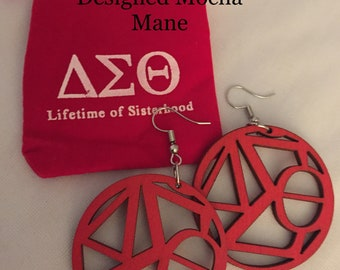 Delta Sigma Theta Earrings Inspired  Wood Red Natural Earrings Sorority Gift  FREE POUCH and  SHIPPING  Smaller Size Earrings 1 3/4