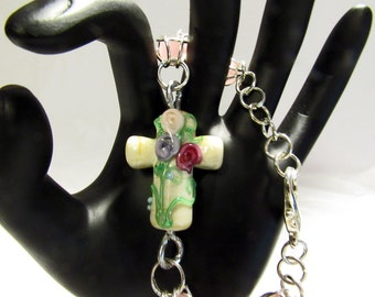 Cross Bracelet Caged Pink Beach Glass Rounds OOAK Handmade Beach Wedding Spiritual Jewelry