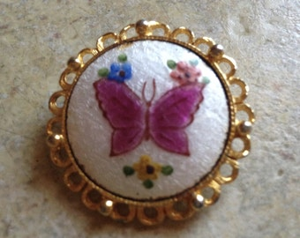 Goldtone Orchid Butterfly Brooch