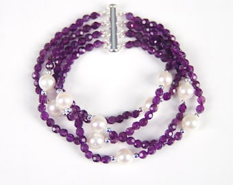 """AMETHYST """"AA"""" 4MM Facet Stones & 8mm Freshwater Pearls, Sterling Tube Clasp"""