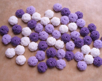 100 Edible fondant sugar Tiny Roses - Purples and white mix - Cupcake / Cake Toppers