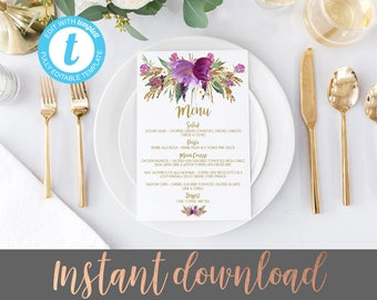 Wedding menu template, Menu Template, Editable Wedding Menu, Purple wedding menus, DIY Wedding menu, Printable Wedding Menu, DIY Dinner Menu