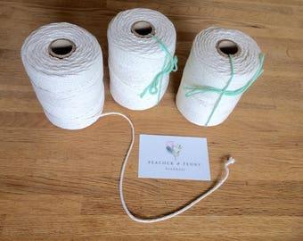 Cotton macrame rope - 2 mm, braidedd