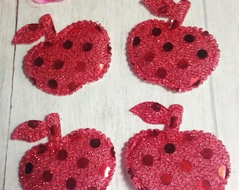 Set of 4 red glitter Apple shape appliques