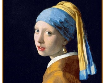 GREAT SALE Girl with Pearl Earring Detail inspired by Dutch Artist Johannes Vermeer Counted Cross Stitch Chart