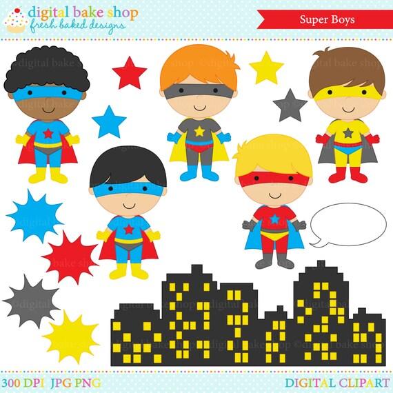 superhero clipart digital clip art super hero boys Super