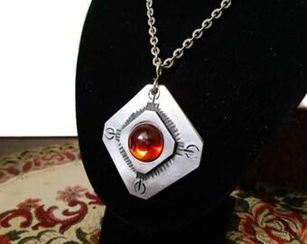 Vintage Pewter Necklace, Swedish Pendant, Orange Glass Pendant, Swedish Necklace, Mid Century Modern, Scandinavian Jewelry, Modernist