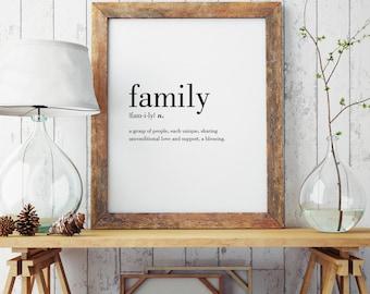Family Definition Print | Wall Art Print | Wall Decor | Minimal Print | Family Print | Modern Print | Type Poster | INSTANT DOWNLOAD #DP19
