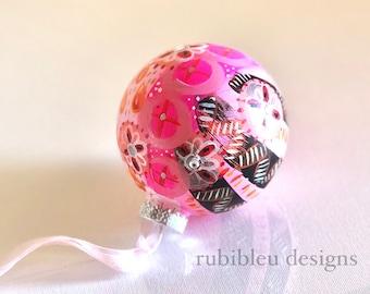 Hand-Painted Glass Ornament, Glass Bauble, Handmade Gift, Spirit Animal, Christmas, Tree Ornament, Teacher's Gift, Flamingo