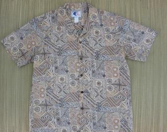 Vintage Hawaiian Shirt NUI NALU 70s Aloha Surfer Shirt Enchanted Tiki Hut Tribal Pattern Reverse Print Mens - L - Oahu Lew's Shirt Shack