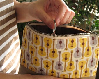 Guitar clutch wristlet,wallet,,lifestyle,gift for her, yellow, cotton,small pouch, leather,